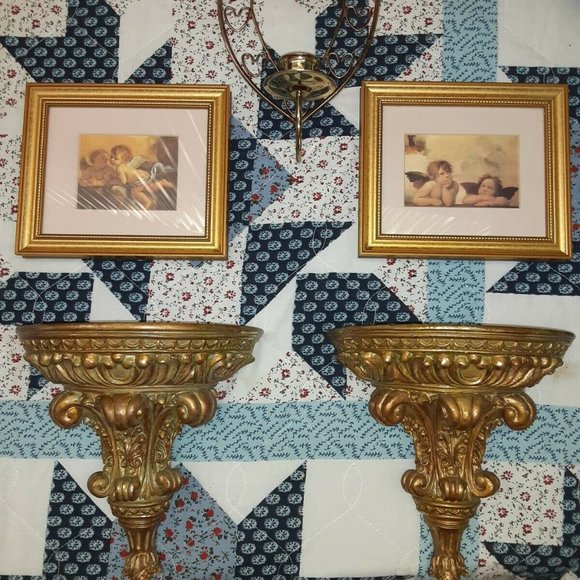 Angels Pictures Wall Art, Candle holders - Vintage